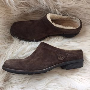 UGG Brown Suede Leather Langford Clogs Sz 7.5